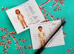 Printable cards of your childs measurement to keep in your wallet (from Oliver + S)