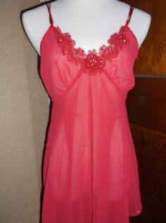 Secret Treasures Womens Lingerie Negligee Red Sequined Floral Neck Medium #SecretTreasures #Negligee
