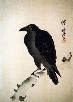 Crow painting by Kawanabe Kyosai (1831-1889).