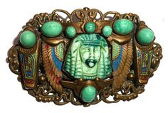 Another wonderful Egyptian Revival brooch by Max Neiger!  Photographed by Gillian Horsup.  One cracked glass stones I'm afraid but still lovely!