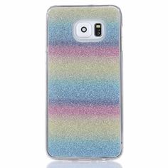 For Samsung Galaxy S7 Edge Case Soft Silicon TPU Shiny Bling Glister Rainbow Phone Cover Shell for Samsung S7 + Screen Film
