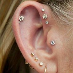 Cute Multiple Flower Ear Piercing Jewelry Ideas For Women Lindo Oreja Joyas