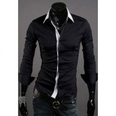 $11.38 New Style Simple White Collar Design Casual Long Sleeve Shirt For Men