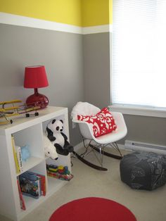 I love the gray with yellow, and the pops of red. Great color combination.