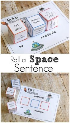 Silly sentences for space! Roll a space sentence and practicing reading, among other things. Silly sentences are fun and exciting! Space Activities, Reading Activities, Literacy Activities, Space Games, Guided Reading, Silly Sentences, Outer Space Theme, Sentence Building, English Lessons