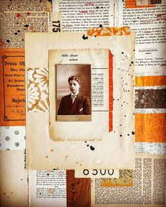 Paper collage with vintage papers and photo by Carin Andersson