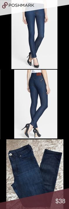 "DL1961 high-waisted rise skinny jeans in Milan DL1961 High-waisted skinny jeans in a dark blue ""Milan"" wash are fitted from the hips to the ankles for a flattering, versatile silhouette. Deluxe four-way stretch denim ensures excellent shape retention wear after wear. DL1961 Jeans Skinny"