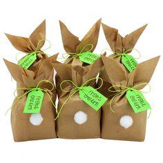 DIY Osterhasen zum selber Basteln und Befüllen - mit Pompons zum Aufkleben - Geschenk zu Ostern Osterhase - grün - für Kinder