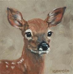 "Daily Paintworks - ""Whitetail Fawn"" - Original Fine Art for Sale - © Helene Adamson"