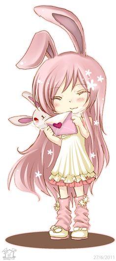 Cute lil pink bunny chibi girl