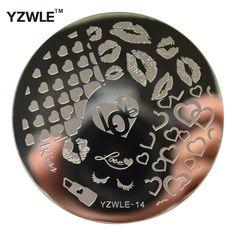 YZWLE 1 Sheet Stamping Nail Art Beeldplaat, 5.6 cm Rvs Template Polish Manicure Stencil Gereedschap (YZWLE-14)