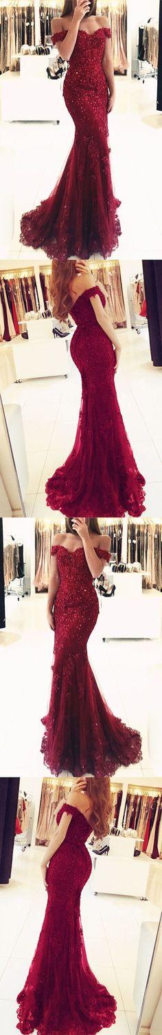 Off Shoulder Lace V-neck Mermaid Prom Dresses 2018 Formal Evening Gowns M1050#prom #promdress #promdresses #longpromdress #promgowns #promgown #2018style #newfashion #newstyles #2018newprom#eveninggowns#offshoulder#mermaid#lace#formaldress#burgundy
