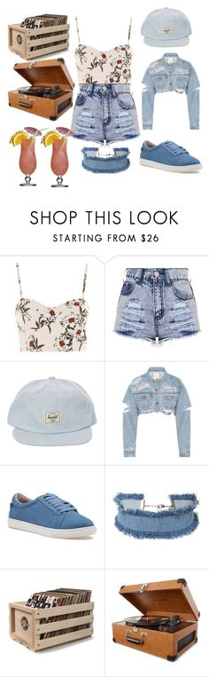 """""""Denim the best in the summer"""" by sabrina-oliveira-2 ❤ liked on Polyvore featuring Topshop, Herschel, J/Slides, DANNIJO and Crosley Radio & Furniture"""