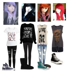 """Punk/Emo"" by just-mrs-radke-no-bigdeal154 ❤ liked on Polyvore featuring Miss Selfridge, Converse, Paige Denim and UGG Australia"