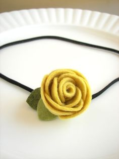 Tennie - Yellow wool felt elastic, clip, pin, headband