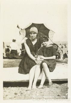 1917 Young Lady girl at Beach Swim Suits Umbrella