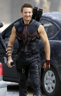 Jeremy Smiling and Wearing Hawkeye Costume From the First Avengers Movie