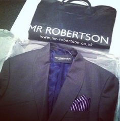Mr Robertson dark grey 100% wool with navy and pink striped pocket hanky