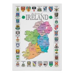 Printable County Map of Ireland | colorful county map of ireland bordered by all 32 county crests