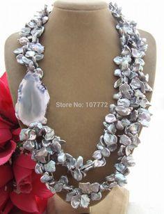 Купить товар4 Strds 13 mm кеши жемчуг и агат ожерелье + shippment в категории Цепина AliExpress.                      Описание:                                   Драгоценные камни информация: