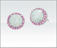 Created Opal with Created Pink Sapphire Earrings set in Sterling Silver