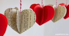 Tutorial: Cómo hacer corazones 3D de papel. Estos corazones de papel son fáciles y rápidos de hacer y quedan bien con cualquier tipo de papel.
