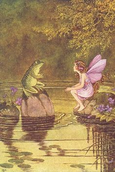 Illustration by Ida Rentoul Outhwaite - fairy Photo Wall Collage, Collage Art, Collage Sheet, Pretty Art, Cute Art, Arte Peculiar, Arte Obscura, Frog Art, Fairytale Art