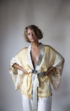 Naturally dyed silk charmeuse kimono made from remnants of bundle dyed silks. Single layer, one size fits all. These can be custom ordered and please note they will take four weeks for delivery. Natural Cushions, Fashion Project, Silk Charmeuse, One Size Fits All, Ready To Wear, Kimono Top, How To Wear, Clothes, Dyed Silk