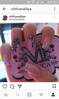 Love Nails, Fun Nails, French Nail Art, Pink Nail Art, Manicure And Pedicure, Nails Inspiration, Nail Care, Nail Art Designs, Acrylic Nails