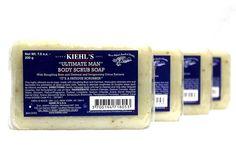 Set of 4 Kiehl's Ultimate Man Body Scrub Soap 7 oz each $60 Value #Kiehls