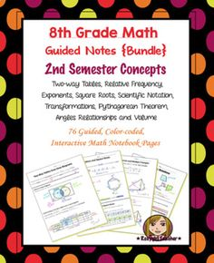 This is a bundle of (76) guided, color-coded notebook pages for the Interactive Math Notebook on all of the 2nd Semester 8th Grade Math Concepts.