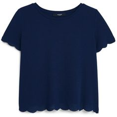 Textured T-Shirt found on Polyvore featuring polyvore, women's fashion, clothing, tops, t-shirts, shirts, blusas, textured shirt, mango t shirt and blue tee