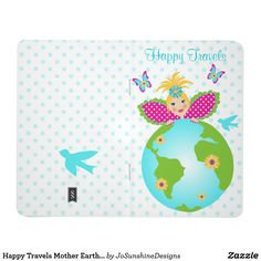 Shop Happy Travels Mother Earth Globe Fairy Angel Diary Journal created by JoSunshineDesigns. Journal Diary, Journal Notebook, Custom Journals, Travel Office, Office Gifts, Mother Earth, Globe, Polka Dots, Fairy