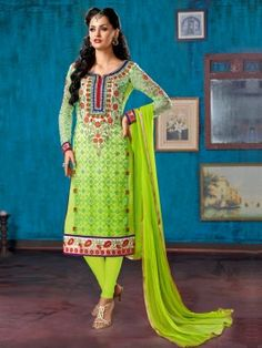 Light Green Georgette Suit With Zari Embroidery And Handwork www.saree.com