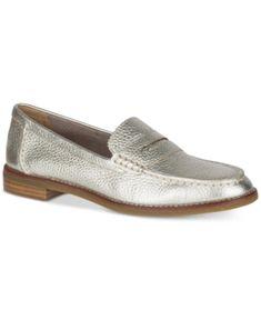 66fdf1e01b1 Sperry Women s Seaport Memory Foam Penny Loafers - Silver 8.5M Loafer Shoes