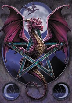 Lunar Magick Dragon Greeting Card Anne Stokes Dragon Pentacle with Moon Greeting Card
