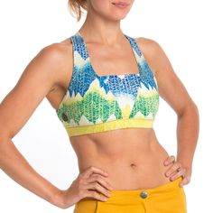 80985cb81ad67 £33 AURORA3 - Upcycled Moisture Control Sports Bra - SOLSTICE BLUE YELLOW  Lifestyle Clothing