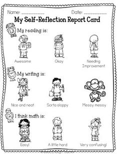 Student self reflection report card 2 page Freebie! Student Self Evaluation, Student Self Assessment, Student Data, Formative Assessment, Student Goals, Kindergarten Goals, Kindergarten Assessment, Classroom Organization, Classroom Management