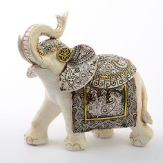 Ivory with Sepia Accents Elephants - Large Size- Offer an elephant collector this exotic ivory good luck elephant. This stunning elephant is made from poly resin and hand painted in an ivory color with sepia a Grey Elephant, Indian Elephant, Elephant Art, Safari Home Decor, Elephant Home Decor, Buddha Decor, Buddha Art, Painted Rocks, Hand Painted