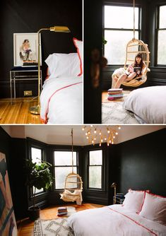 Black Bedroom with bay window (3 angles).