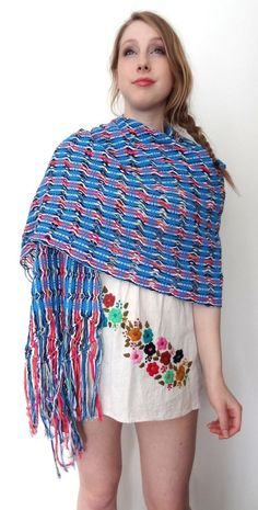 Mexican Hand Woven Ethnic Folk Reboso Shawl Wrap Serape Cotton Blues #108