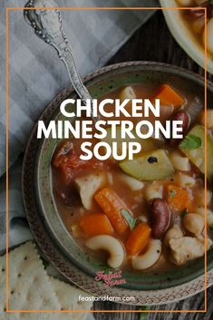 Minestrone soup is so full of vegetables! We added chicken and this recipe really becomes a meal. #chickenminestrone #minestronesoup