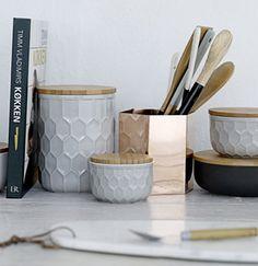 Pot de conservation en céramique et bambou (par 3) Bloomingville