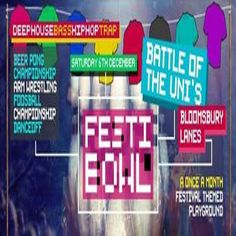 Festibowl at Bloomsbury Lanes, Basement of Tavistock Hotel, Bedford Way, London, WC1H 9EU, UK. On Dec 06, 2014 to Dec 07, 2014 at 10:00pm to 3:00am.  Festibowl - The University Clash! Which University Will Come Out On Top! Remember when you were a kid how excited you used to be when your parents would take you to a McDonalds with a play area?  URLs: Tickets: http://atnd.it/17411-0 Facebook: http://atnd.it/17411-1  Category: Nightlife,  Price: Early bird £5, Standard £7