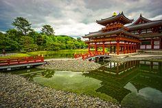 The Phoenix Hall (鳳凰堂) of Byodoin Temple (平等院) in Uji (宇治) Kyoto (京都) Japan
