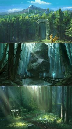 forrest environment sketches by Tonyholmsten on DeviantArt Landscape Concept, Fantasy Landscape, Landscape Art, Environment Sketch, Environment Design, Fantasy Places, Fantasy World, Fantasy Concept Art, Fantasy Art