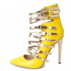 YELLOW GOLD GLADIATOR STYLE HEELS VEGAN LEATHER (255 PEN) ❤ liked on Polyvore featuring shoes, gold shoes, gladiator shoes, yellow gold shoes, gold gladiator shoes and vegan footwear
