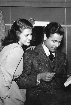 Rita Hayworth and Glenn Ford behind the scenes of The Lady In Question, 1940.