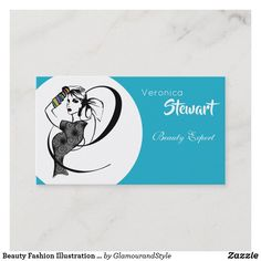 Beauty Fashion Illustration Woman Turquoise Business Card Fashion Business Cards, Beauty Business Cards, Creative Business, Veronica, Make Your Own, Fashion Beauty, Turquoise, Woman, Illustration