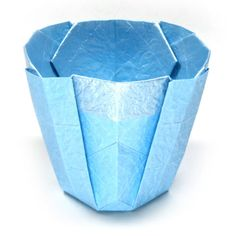 How to make a simple 3D origami cup II (http://www.origami-make.org/origami-cup-3d-simple2.php)